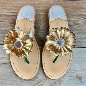 Jack Rogers | Gold flower strap | Size 6